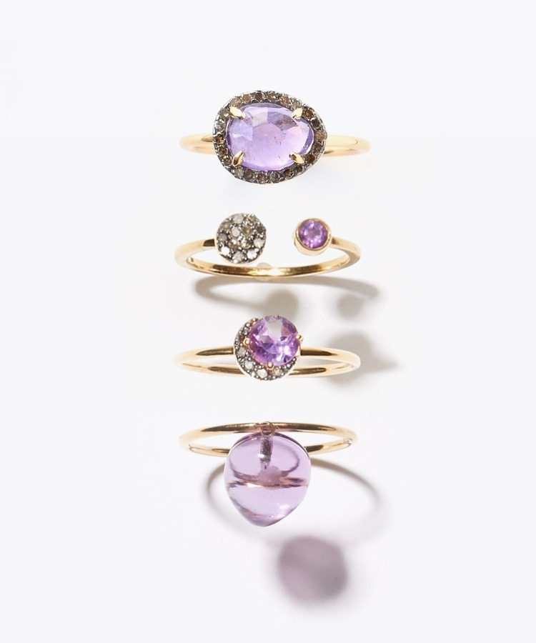 "【2019Christmas限定】""elafonisi"" Ring Set Box.2 amethyst ギフトセット"